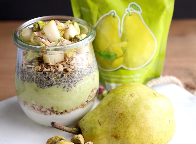 Pear Chia Pistachio Breakfast Parfait Jars