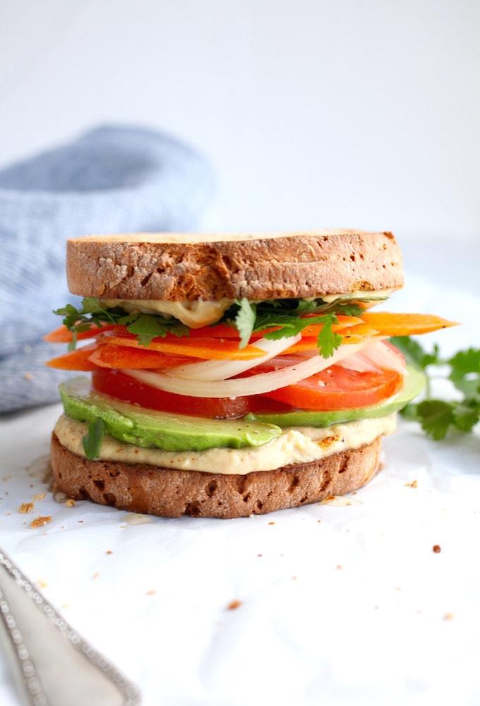 Avocado & Spiced Hummus Sandwich via Nutrition in the Kitch