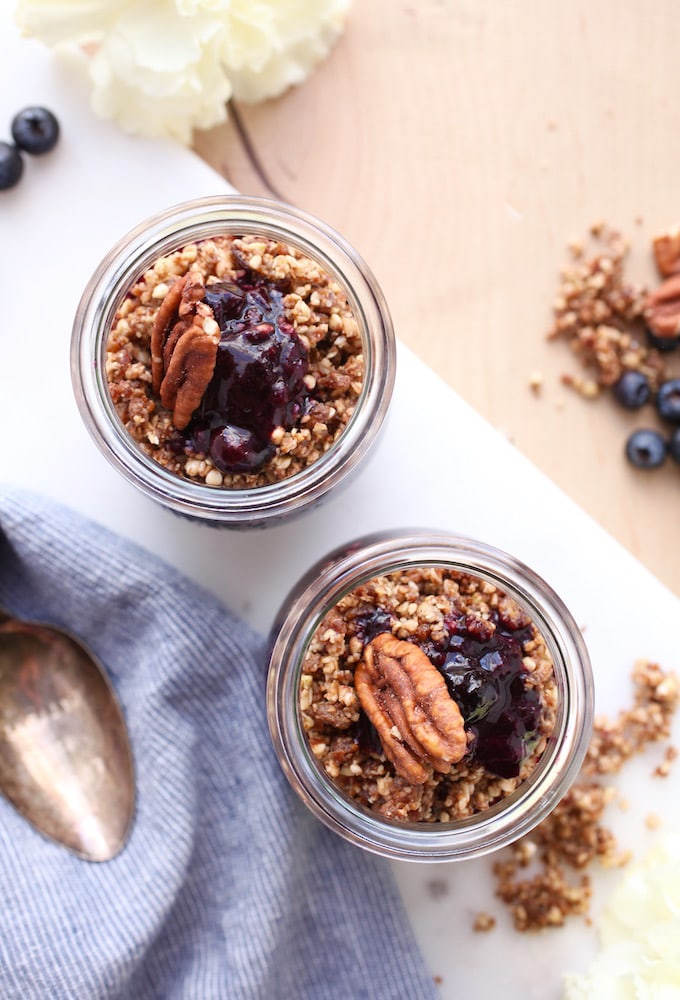 No-Bake Layered Pecan Blueberry Cobbler via Nutrition in the Kitch