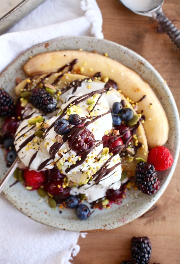 "Better Banana Split with Superfood ""Sprinkles"" via Nutrition in the Kitch"