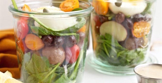 Healthy Niçoise Salad Jars with Roasted Garlic Lemon Dressing