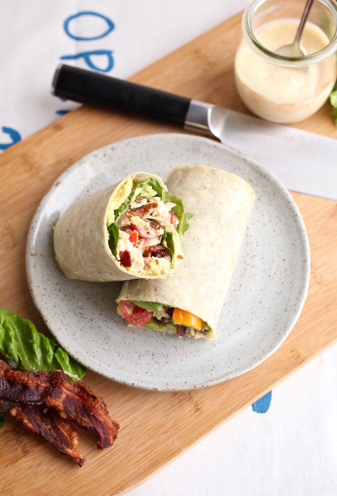 Spicy Avocado Chicken BLT Wrap via Nutrition in the Kitch
