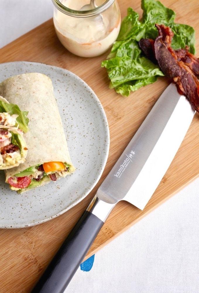 Spicy Avocado Chicken BLT Wrap via Nutrition in the Kitch