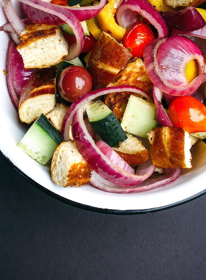 Grilled Pretzel Panzanelle Salad from Vegetarian Ventures