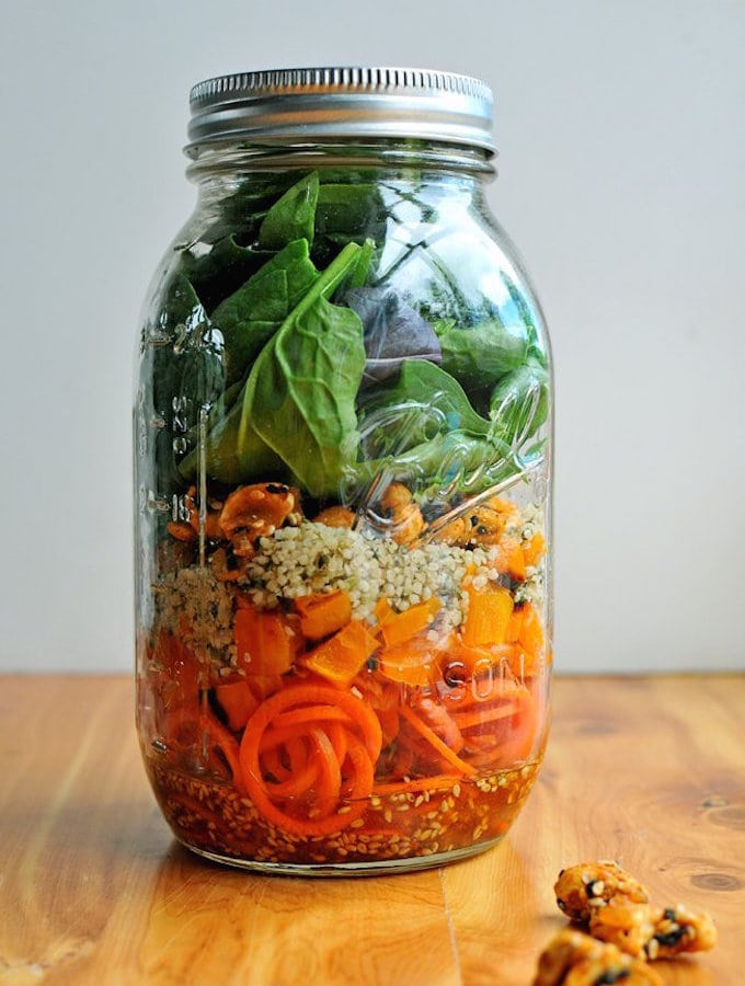 Mason Jar Carrot Noodle Salad w/Sweet Chili Vinaigrette from Nosh and Nourish