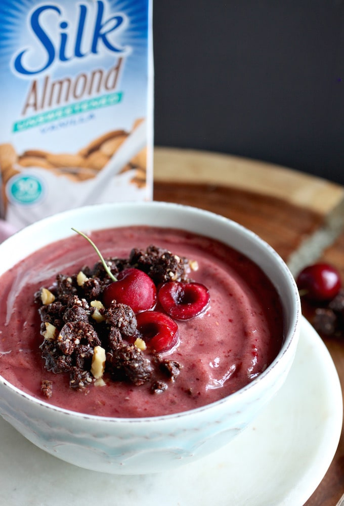 Summer Cherry Smoothie Bowl with Raw Brownie Bits via Nutrition in the Kitch