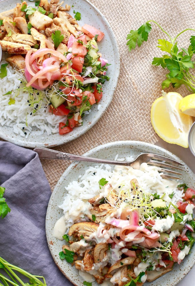 Healthy Chicken Shawarma Plate via Nutrition in the Kitch