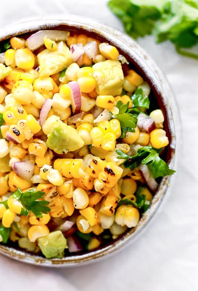 grilled corn salad with avocado, cilantro, and lime