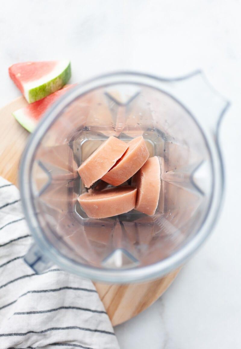 Watermelon Ice Cream being prepared in a vitamix