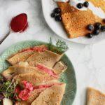 5-Ingredient Gluten-Free Crepes (Cassava Flour) 2 Ways // Savory Beet & Dill and Sweet Pumpkin Chocolate