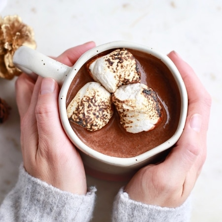 Super Healthy Rich & Creamy Hot Chocolate Recipe - iron fortified, gluten free, dairy free, vegan!