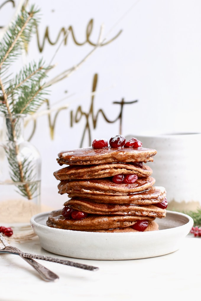 This recipe for healthy gingerbread pancakes is sure to be a crowdpleaser. The pancakes are easy, healthy, gluten free, paleo and perfect for Christmas morning, or any time of the year you are craving gingerbread!