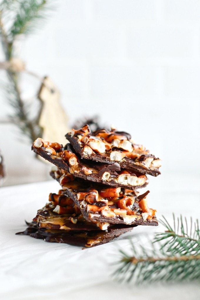 Healthy Dark Chocolate Bark with Salted Caramel, Peanut Butter and Pretzels
