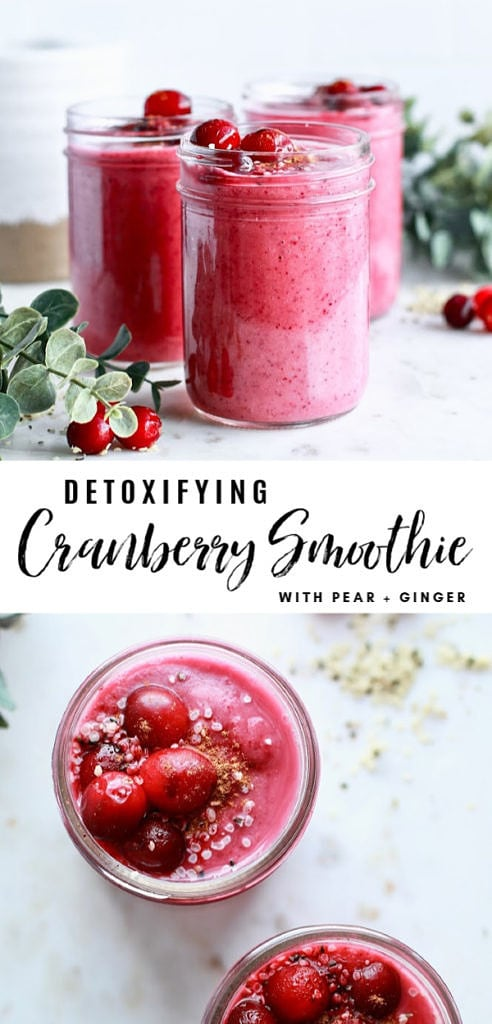 This healthy cranberry smoothie recipe has delicious festive flavours and works to detox the body around the holiday season! It is dairy freee and gluten free and boost digestion with it's whole food ingredients including pear, ginger, cinnamon, and collagen protein!