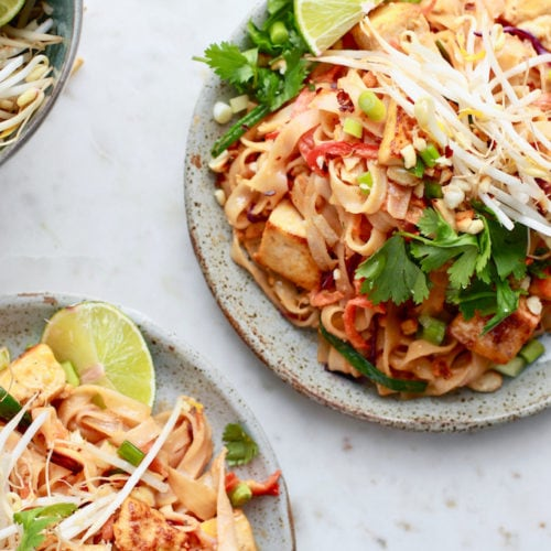 Easy, quick, and tasty healthy Pad Thai noodles recipe with an easy gluten free peanut sauce