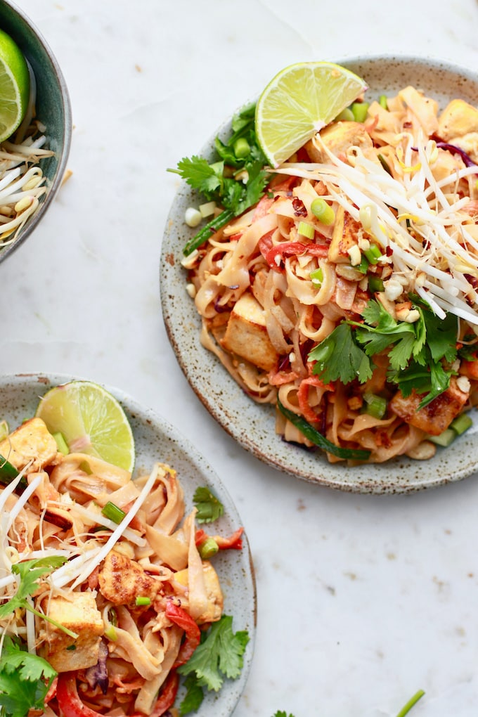 Easy, quick, and tasty gluten free Pad Thai with a healthy peanut sauce