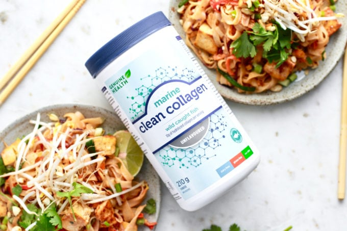 Easy and healthy gluten free Pad Thai with a tasty peanut sauce