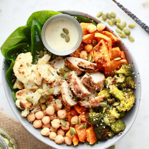 Roasted Veggie Winter Buddha Bowl with Chicken - perfect for any meal - gluten free and dairy free!