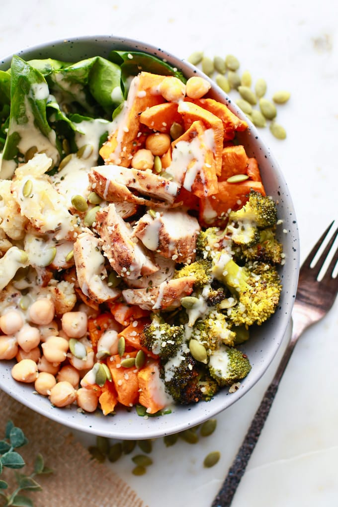 This Roasted Veggie Winter Buddha Bowl with Chicken is dairy free, gluten free, and loaded with nourishing ingredients.
