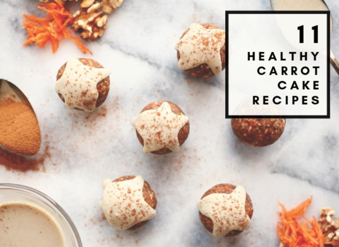 These 11 Healthy Carrot Cake Recipes are the best from around the web and aren't just cake! There's a cupcake recipe, homemade bites and balls, easy carrot cake cookies, and more in this delicious roundup with vegan, sugar free, dairy free, clean eating, and gluten free options!