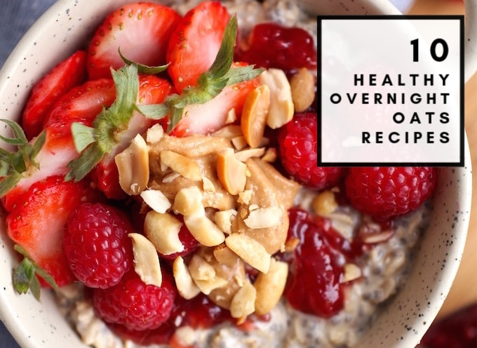 These 10 Healthy Overnight Oats recipes are a must try for easy and quick mornings. Simply make these in a jar the night before and enjoy a fast breakfast the next day! Many of these are vegan, dairy free, gluten free, have added protein, coconut and/or greek yogurt, and are clean eating friendly!