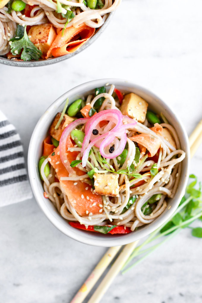 Delicious and Healthy Cold Soba Noodle Salad With Tahini Lemongrass Dressing