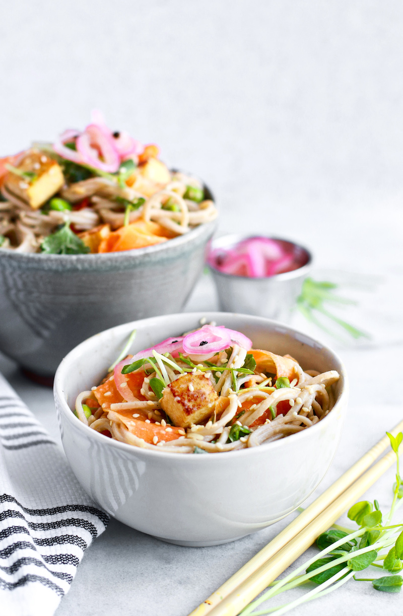 Easy and Healthy Cold Soba Noodle Salad With Tahini Lemongrass Dressing