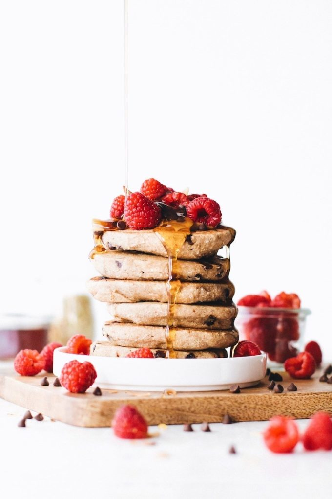 10 Healthy Buckwheat Pancake Recipes To Drool Over // Chocolate Chip Vegan Buckwheat Pancakes from Feasting on Fruit
