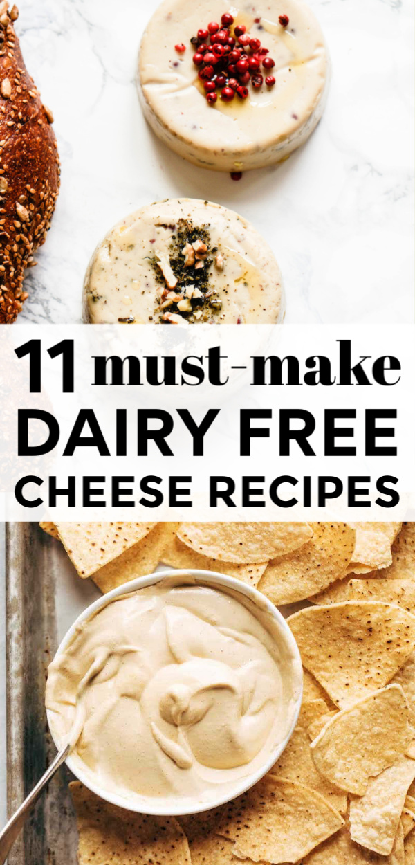 11 Delicious Dairy Free Cheese Recipes To Make | Try these 11 delicious and easy dairy free cheese recipes that won't make you miss the real thing! They are gluten free, made with all kinds of great dairy free ingredients like cashews and coconut milk! Whether you are craving nacho cheese sauce, fondue, a cheese ball, cream cheese, queso, mozzarella, or jalapeño cheese, there's a vegan option for every one - comfort food at it's finest!