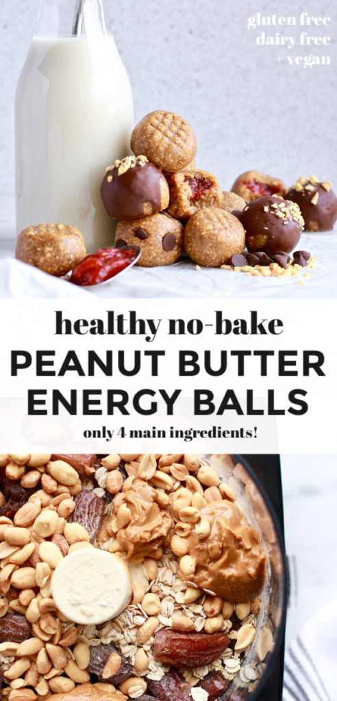 This easy and healthy no-bake peanut butter energy balls recipe makes the best snack! Made gluten free friendly with gluten free rolled oats, dairy free, and vegan these suit most diets! The peanut butter bites also contain a nice amount of protein to fill you up or satisfy your craving for sweet treats!