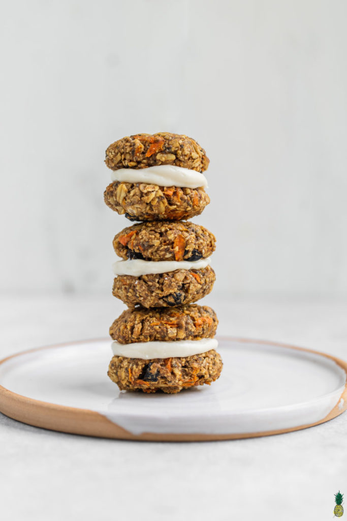 9 Surprisingly Healthy Gluten Free Oatmeal Raisin Cookies // Carrot Cake Cookie Sandwiches via Sweet Simple Vegan