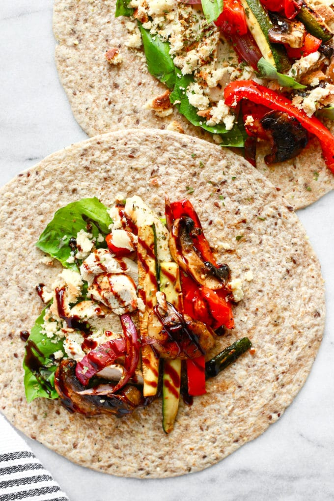 The Best Healthy Grilled Chicken and Veggie Wrap (Dairy Free & Can Be Gluten Free)