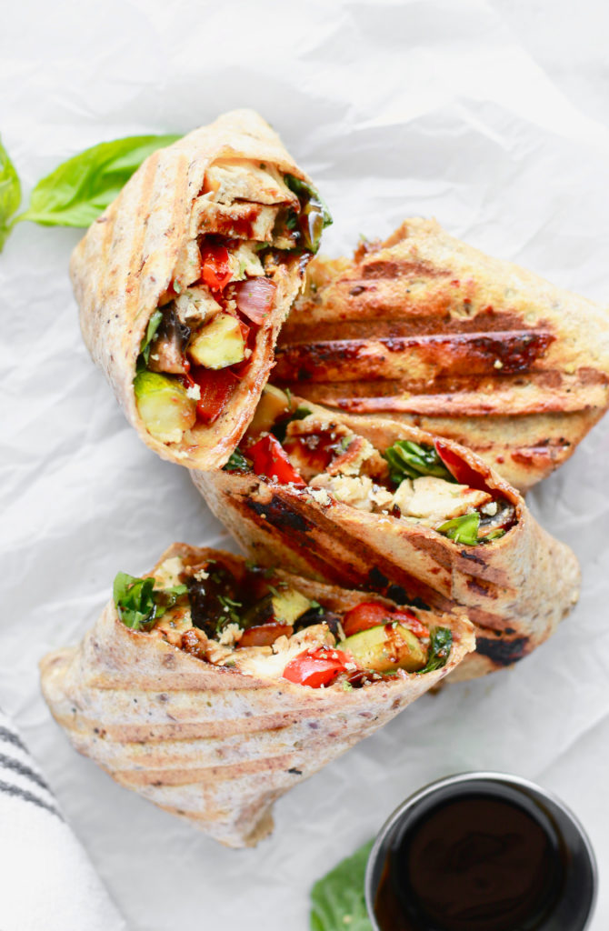 Quick and Simple Healthy Grilled Chicken and Veggie Wrap