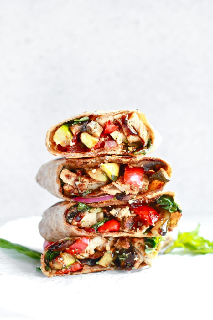 Tasty Healthy Grilled Chicken and Veggie Wrap