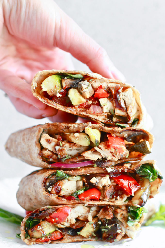 Delicious and Simple Healthy Grilled Chicken and Veggie Wrap