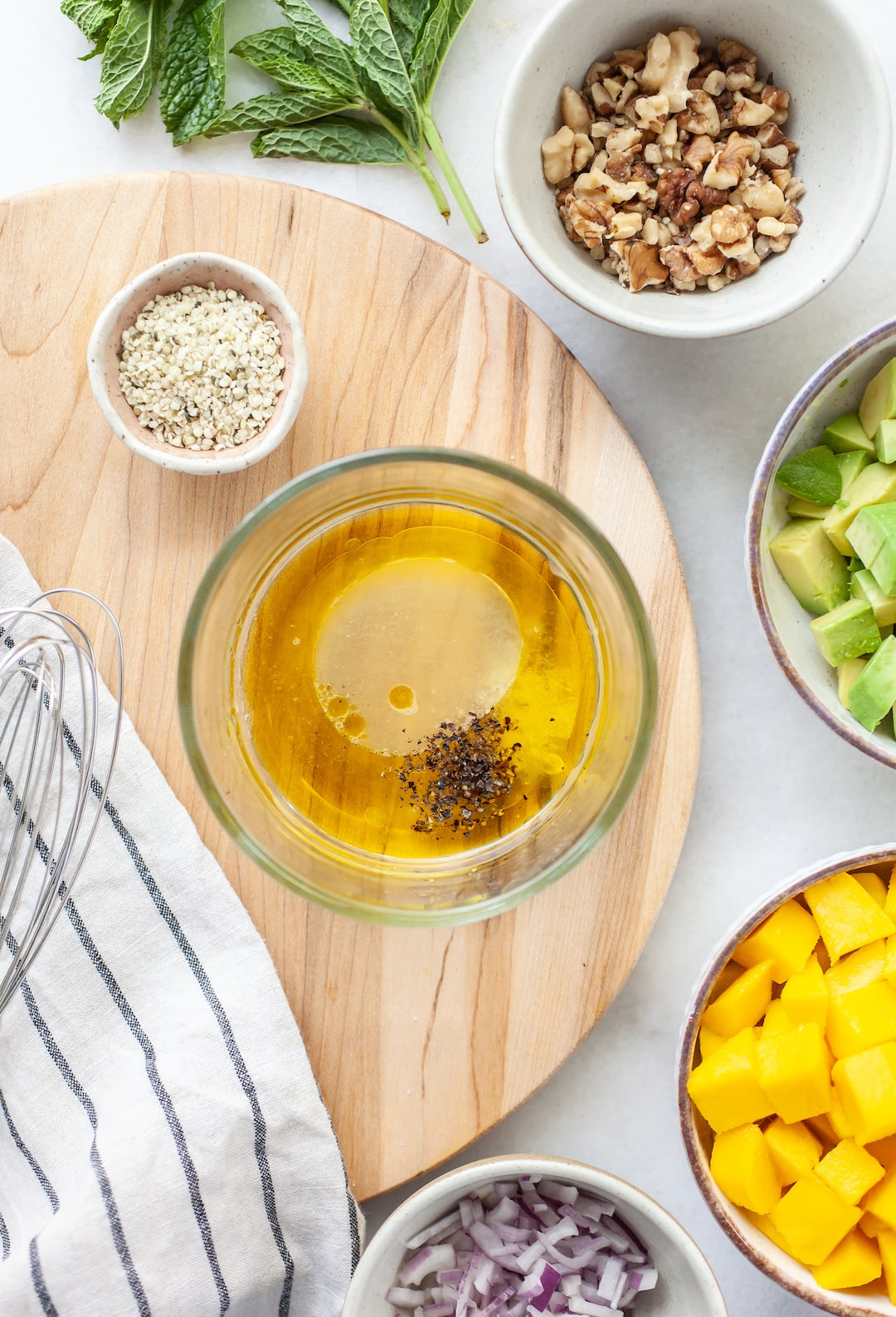 Easy Mango Avocado Salad dressing in a bowl