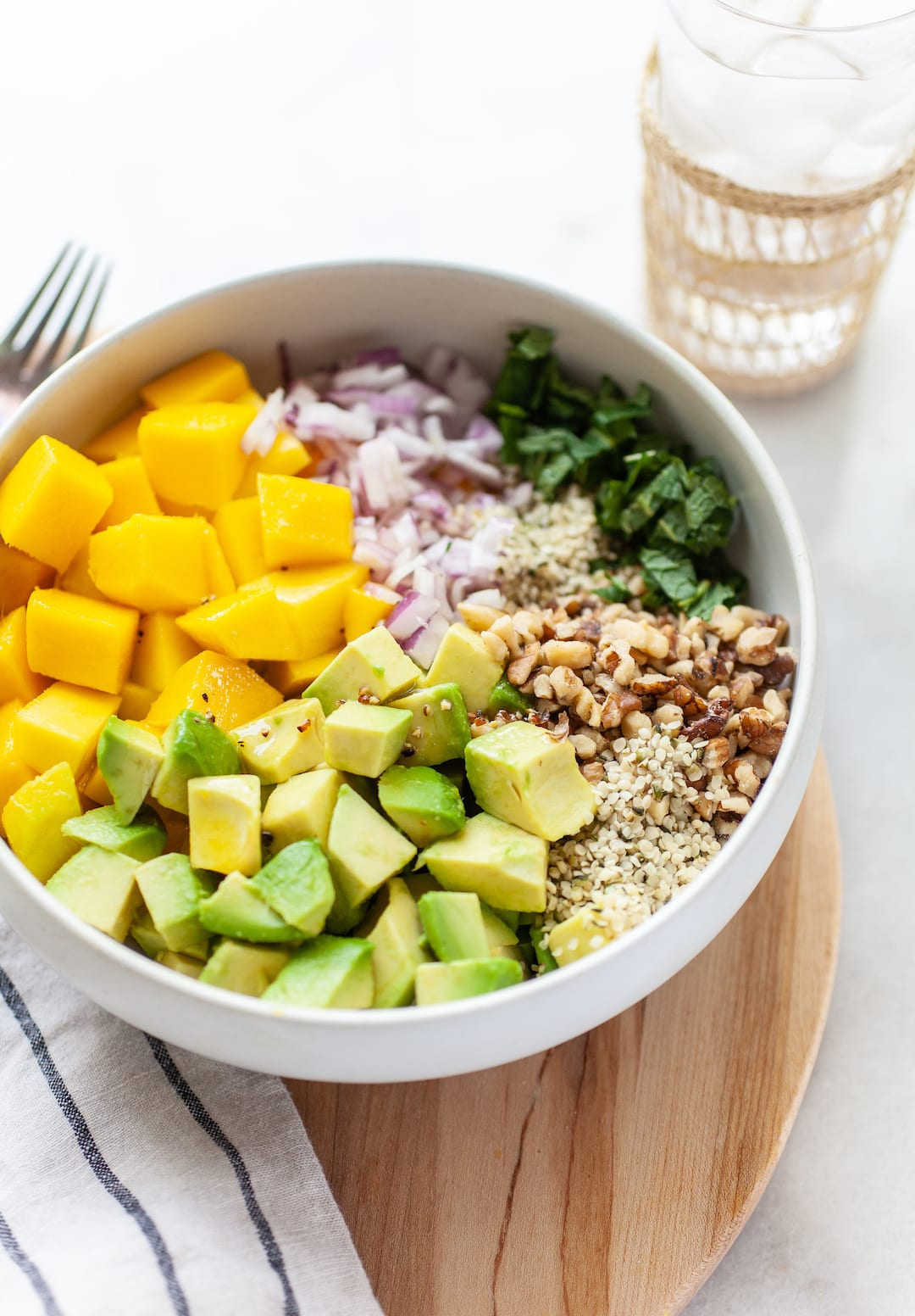 Side view of a mango avocado salad