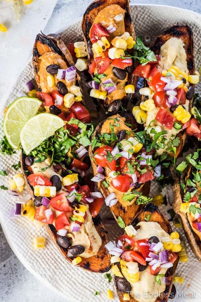 22 Make-Ahead Healthy Camping Recipes - Southwest Stuffed Sweet Potatoes from The Endless Meal