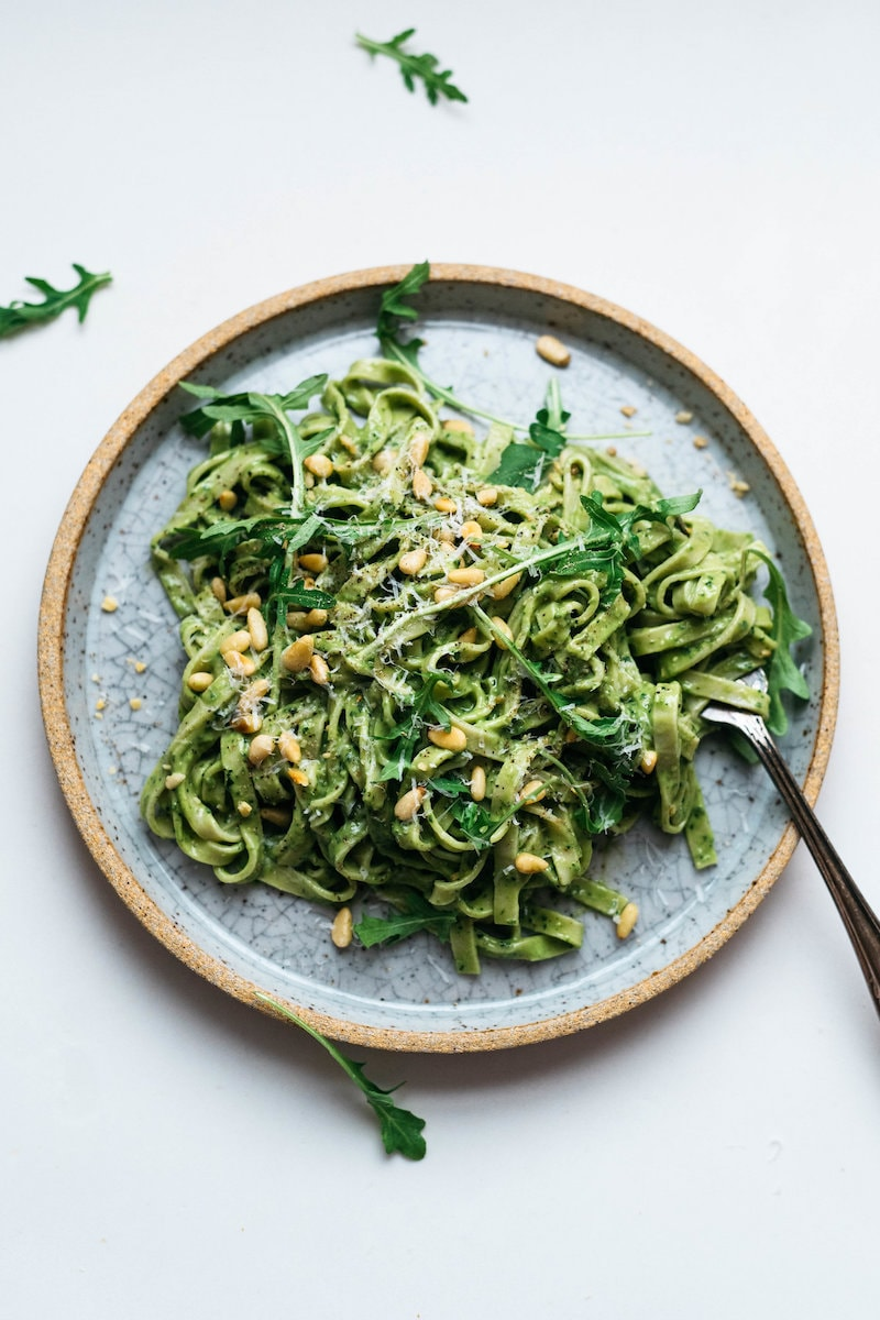 Healthy Pesto Recipes: 15 Unique & Delicious Options - Avocado Kale Pesto Pasta from Dolly and Oatmeal