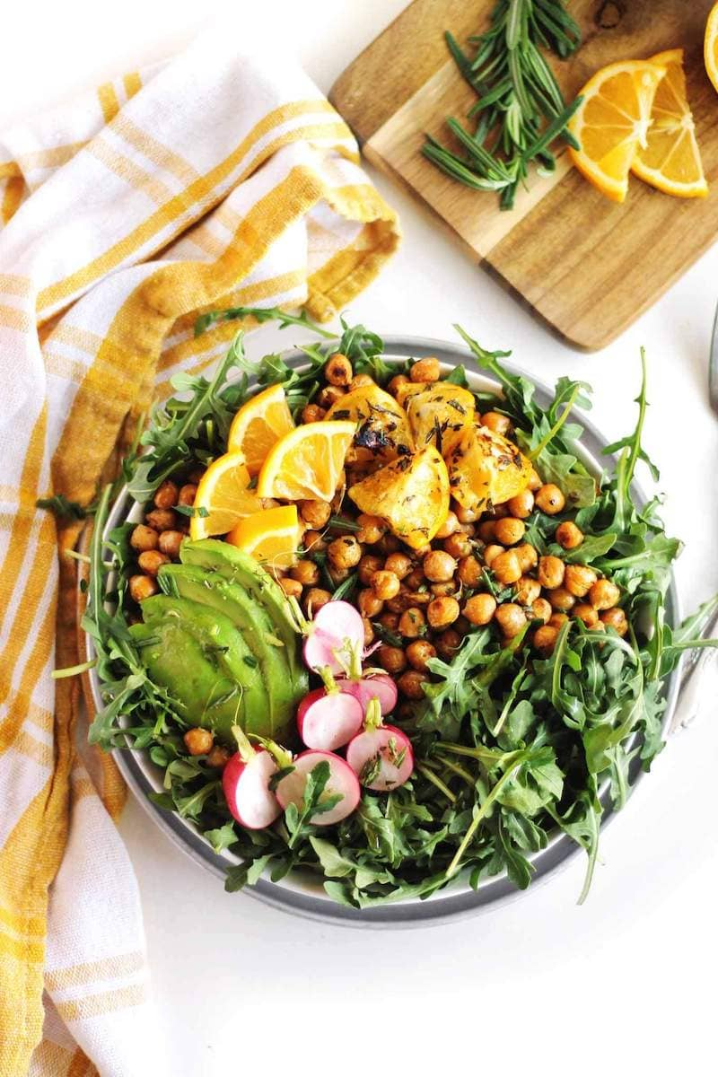 12 Healthy 20-Minute (or less!) Dinner Recipes - Arugula Salad with Lemon Chickpeas via Rhubarbarians