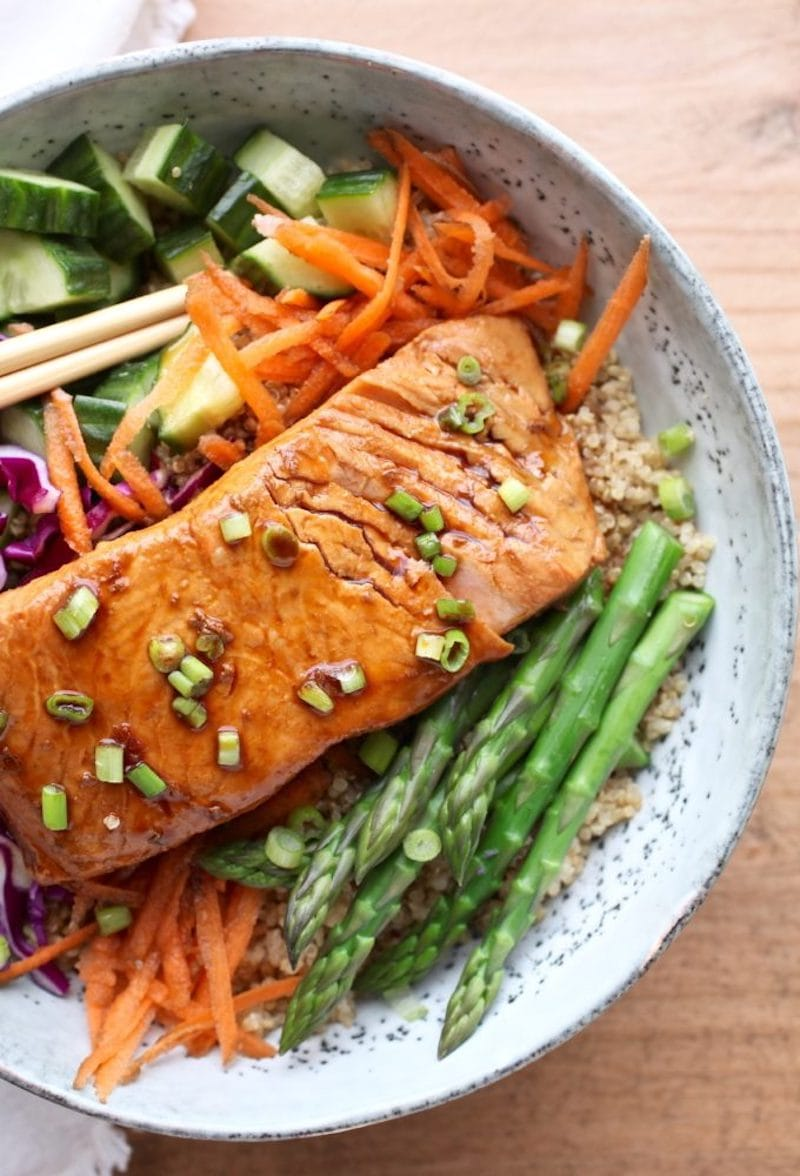 12 Healthy 20-Minute (or less!) Dinner Recipes - Soy Poached Salmon Bowl