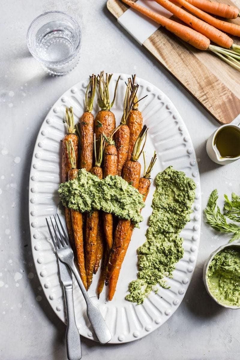 Healthy Pesto Recipes: 15 Unique & Delicious Options - Roasted Carrots with Tarragon Carrot Top Pesto