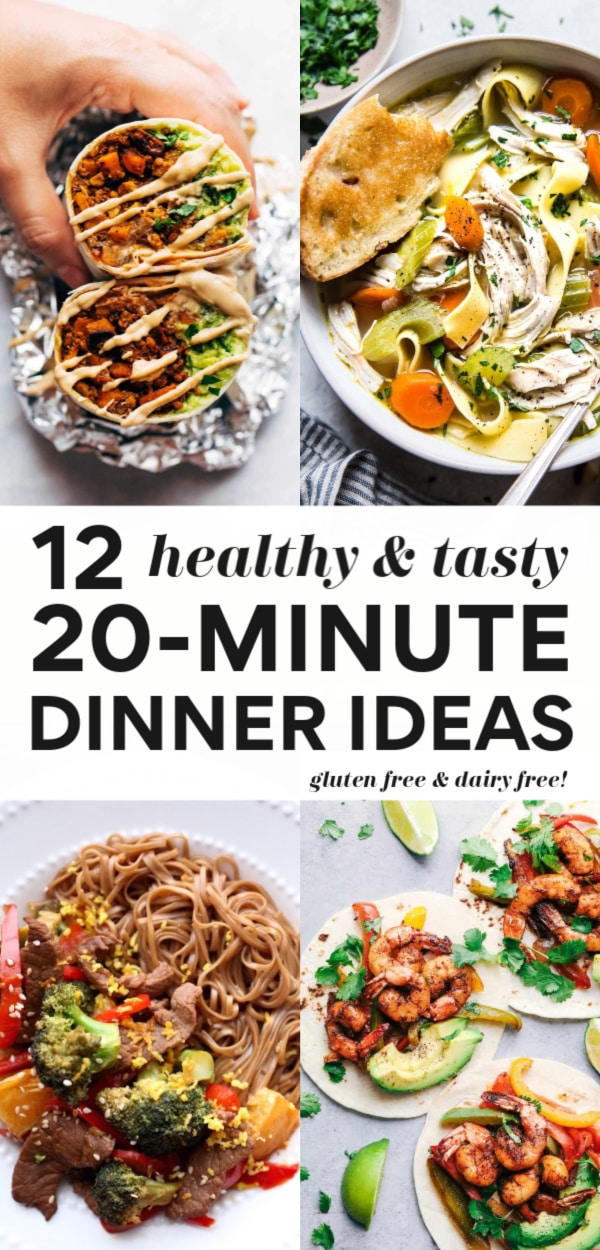 Try any of these 12 healthy and delicious 20-minute (or less!!) dinner recipes for quick and easy nutrition any night of the week. These ideas are all healthier, great for kids and the whole family, can easily be gluten free and dairy free and there are plant-based and vegan options too!