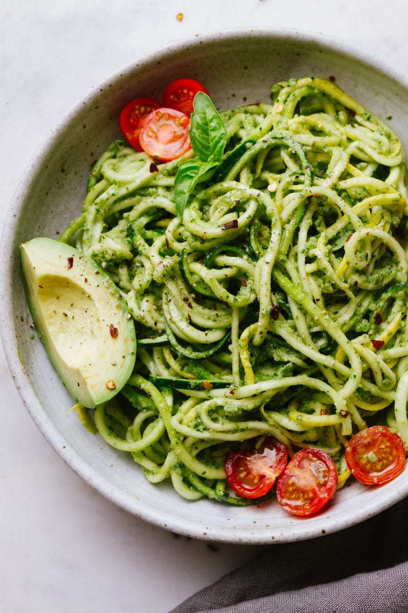 Healthy Pesto Recipes: 15 Unique & Delicious Options - Vegan Zucchini Pesto with Spiralized Noodles