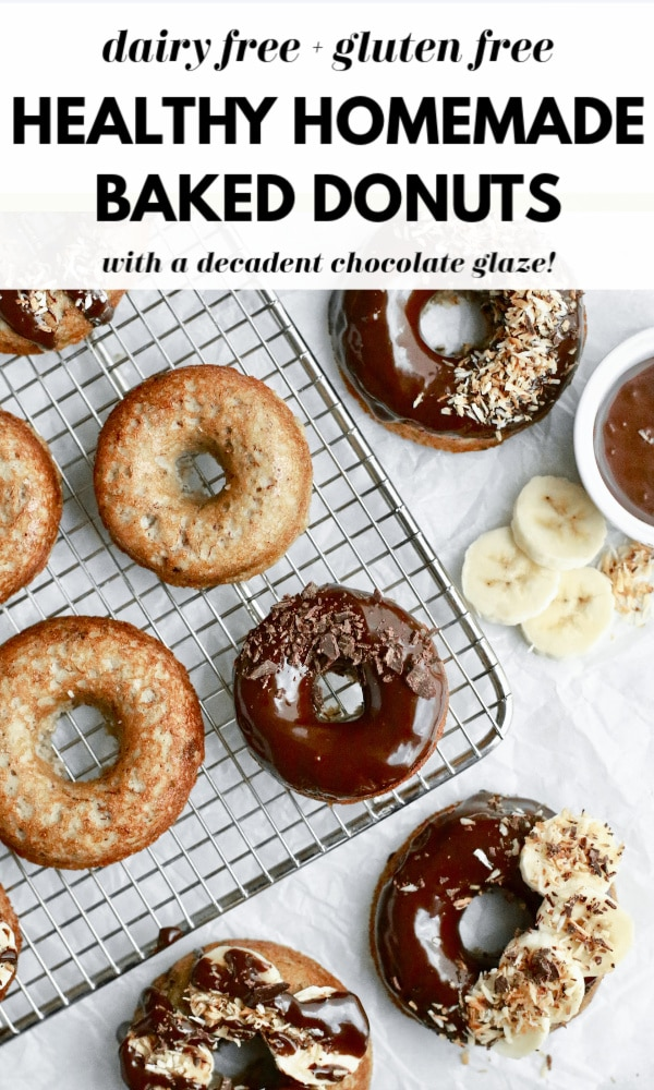 These mouthwatering homemade baked donuts have a cake like banana bread texture with dark chocolate chunks and a delicious and healthy naturally sweetened chocolate glaze! They are gluten free, dairy free, grain free, and made with no sugar! Easy donuts from scratch that are good for you!