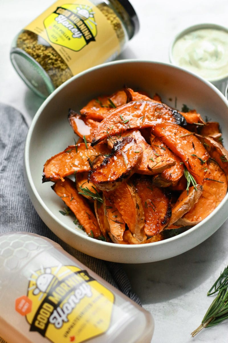 The Best Honey-Roasted Sweet Potato Wedges with Tahini Sauce