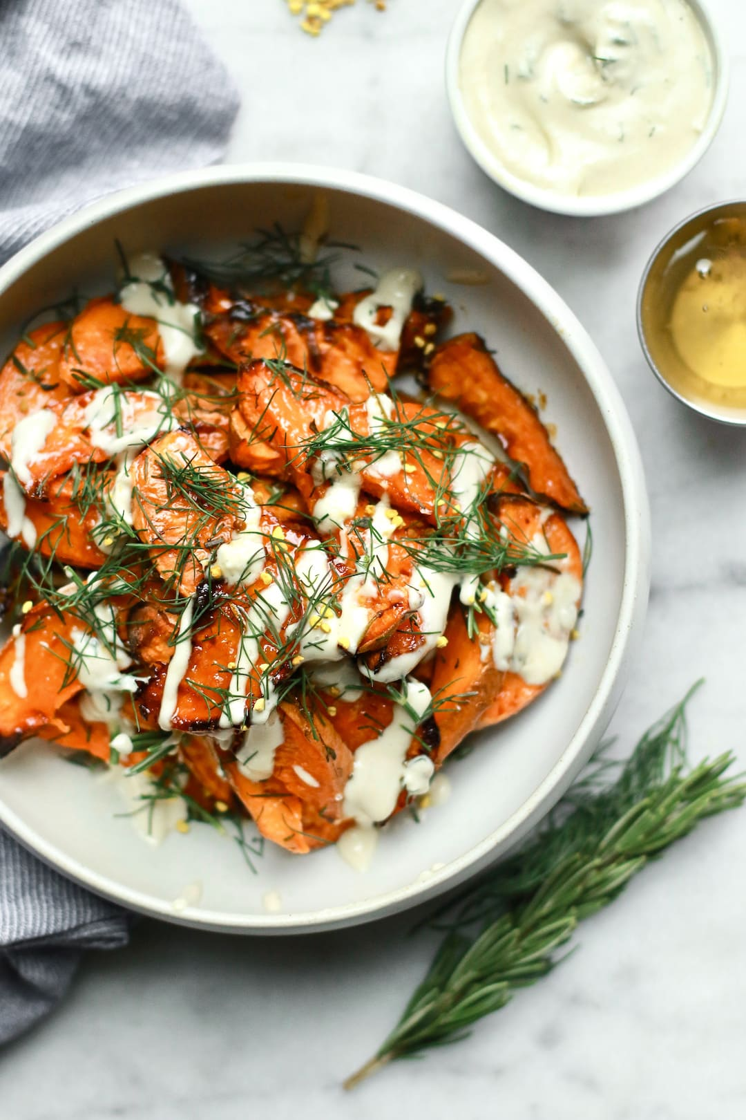 Honey-Roasted Sweet Potato Wedges with Dill