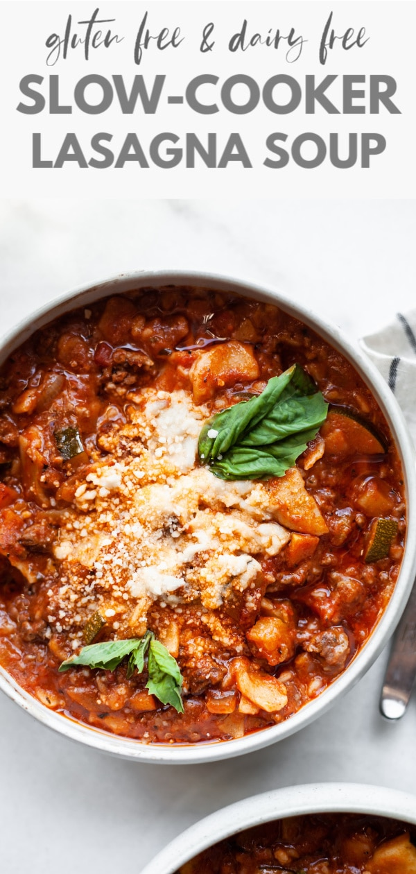 This delicious slow cooker lasagna soup is so easy to make and can be done in a crockpot or instant pot too. Loaded with a mix of vegetable and ground beef this recipe is also dairy-free, gluten-free, and can easily be made vegan using a veggie ground. Comfort food made healthy!