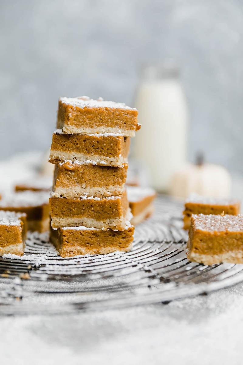 9 Drool-worthy Gluten Free, Dairy Free Pumpkin Pie Recipes - Paleo Pumpkin Pie Bars from Ambitious Kitchen