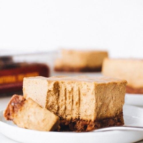 9 Drool-worthy Gluten Free, Dairy Free Pumpkin Pie Recipes - No-Bake Medjool Date Pumpkin Cheesecake Bars from Feasting on Fruit